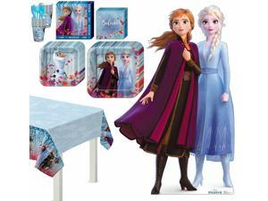 Frozen 2 Anna Elsa Basic Tableware Kit and Supplies for 8 Guests, Table Cover