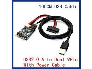 9pin USB header 1 to 2 Extension Cable Card Desktop 9-Pin USB with power cable HUB USB 2.0 9 pin Connector Adapter Port Multilier with 100cm usb cable