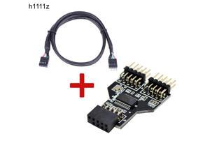 Motherboard USB 9Pin Interface Header Splitter 1 to 2 Extension Cable Adapter 9 Pin USB HUB USB 2.0 Connectors for RGB Bluetooth