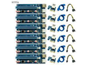 6PCS 006C Riser USB 3.0 PCI E PCI Express Riser Card 1x to 16x GPU Extender Adapter Cable 60cm 6pin Riser Card for BTC Mining