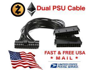 24 Pin 20+4 Dual Multiple PSU Power Supply Splitter Adapter 30 cm 18AWG USA FAST