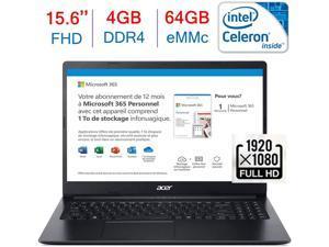 Acer Aspire 15.6-inch FHD(1920x1080) Laptop PC, Intel Celeron N4020 Processor, 4GB DDR4, 64GB eMMC, HDMI, Bluetooth, WiFi, Stereo Speaker, One-Year Office 365 Included, Windows 10 w/Mazery Mousepad
