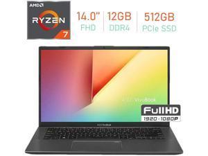 ASUS VivoBook 14-inch FHD (1920x1080) Laptop PC, AMD Ryzen 7 3700U up to 4.0GHz, 12GB DDR4, 512GB PCIe SSD, Bluetooth, Backlit Keyboard, Fingerprint Reader Windows 10 Home w/Tigology Mousepad