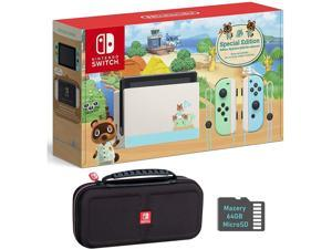 Nintendo Switch Bundle w/Case & SD Card: Nintendo Switch Animal Crossing New Horizons Edition 32GB Console, Mazery 64GB SD Card & Travel Case