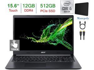 Newest Acer Aspire 5 A515 15.6-inch Touchscreen HD Laptop PC, 10th Gen Quad-Core Intel I5-1035G1 up to 3.6GHz, 12GB DDR4, 512G PCIe SSD, Backlit Keyboard, Windows 10 Home w/Mazepoly Accessories