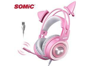 Somic G951 USB Gaming Headphone 7.1 Surround Sound Wired Over-Ear Headset Cat Ear Earphones for PC Gamer with Microphone