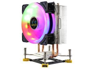 LANSHUO CPU Cooler RGB CPU Radiator 2 Heat Pipes Ultra Quiet Cooler Fan for  LGA 775 115X 1366 (3Pin Single Fan)