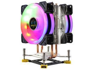LANSHUO CPU Cooler 2 Heat Pipes RGB CPU Radiator Ultra Quiet Cooler Fan for  LGA 775 115X 1366 (3Pin Dual Fan)