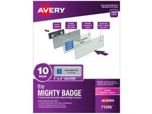 """The Mighty Badge, 1""""x3"""" Silver, 10 Reusable Name Tags 80 Laser Inserts"""