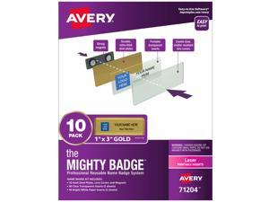 """The Mighty Badge, 1""""x3"""" Gold, 10 Reusable Name Tags 80 Laser Inserts"""
