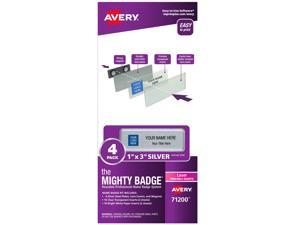 """The Mighty Badge, 1""""x3"""" Silver, 4 Reusable Name Tags, 32 Laser Inserts"""