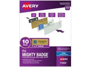 """The Mighty Badge, 1""""x3"""" Gold, 10 Reusable Name Tags 80 Inkjet Inserts"""