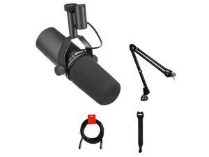 Shure SM7B Cardioid Dynamic Vocal Microphone with Rode PSA1 Boom Arm, XLR Cable & 10-Pack Straps Bundle
