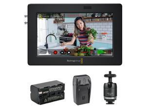 "Blackmagic Design Video Assist 3G-SDI/HDMI 5"" Recorder/Monitor with Li-Ion Battery Pack, AC/DC Charger & Ball Head Bundle"