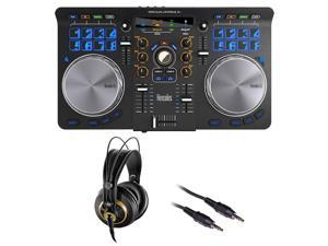 Hercules Universal DJ Bluetooth + USB DJ Controller with AKG K 240 Studio Pro Headphones & Stereo Mini Cable Bundle
