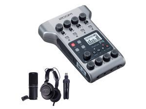 Zoom PodTrak P4 Portable Multitrack Podcast Recorder Bundle with Zoom ZDM-1 Podcast Pack