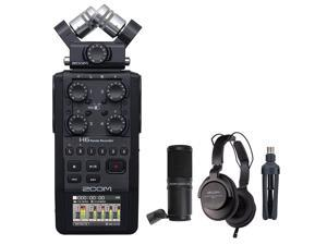 Zoom H6 All Black 6-Track Portable Recorder (2020 Version) Bundle with Zoom ZDM-1 Podcast Mic Pack