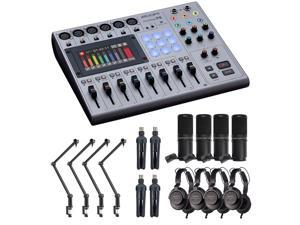 Zoom PodTrak P8 Portable Podcast Recorder Bundle with 4x Zoom ZDM-1 Podcast Mic Pack & 4x Boom Arm