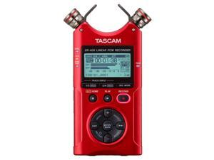 Tascam DR-40X 4-Track Portable Audio Recorder with Adjustable Stereo Microphone (Red)