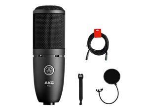 AKG P120 Cardioid Condenser Microphone (Black) with XLR-XLR Cable, Pop Filter & 10-Pack Straps Bundle