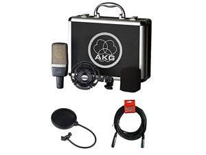 AKG C214 Large-Diaphragm Condenser Microphone with Pop FIlter & 20' XLR Cable Bundle