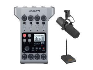 Zoom PodTrak P4 Portable Multitrack Podcast Recorder Bundle with Shure SM7B Vocal Microphone & Mic Stand