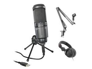 Audio-Technica AT2020USB+ Cardioid Condenser USB Microphone Bundle with Mic Suspension Crane Arm & Headphone