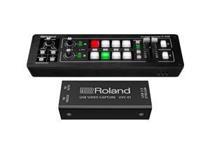 Roland V-1HD STR Mixer/Switcher Live Streaming Bundle with USB Video Encoder UVC-01