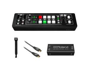 Roland V-1HD STR Mixer/Switcher Live Streaming Bundle with Video Encoder UVC-01, 6' HDMI Cable & 10-Pack Straps
