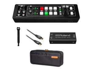 Roland V-1HD STR Mixer/Switcher Live Streaming Bundle with Encoder UVC-01, Roland CB-BV1 Carry Bag, 6' HDMI Cable & 10-Pack Straps