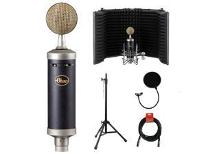 Blue Baby Bottle SL Studio Condenser Microphone with RF-5P-B Reflection Filter, Tripod Mic Stand, Pop Filter & XLR Cable Bundle