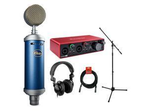 Blue Bluebird SL Condenser Studio Microphone with Focusrite Scarlett 2i2 2x2 Audio Inteface (3rd gen), Headphone, Mic stand & XLR Cable Bundle