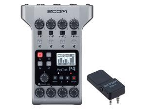 Zoom PodTrak P4 Portable Multitrack Battery Powered, 4 Microphone Inputs, 4 Headphone Outputs, 2-In/2-Out Podcast Recorder Bundle with BTA-2 Bluetooth Adapter