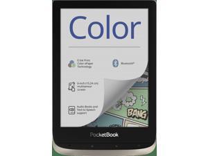 "PocketBook Color (Moon Silver). Display: 6"" E Ink Kaleido™; Dual Core (2×1 GHz); RAM: 1 GB; Flash memory: 16 GB; Wi-Fi; Bluetooth; Audio; Frontlight; Touchscreen; Battery: 1900 mAh (Li-Ion Polymer)."