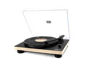 LP&No.1 Retro Record Player Supporting Vinyl to MP3 Recording, 3-Speed Belt Drive Turntable with Built-in Stereo Speakers and RCA Output, Black