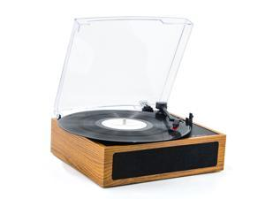 LP&No.1 3 Speed Belt-Drive Bluetooth Turntable with Stereo Speakers, Vintage Vinyl Record Player, Yellow Brown