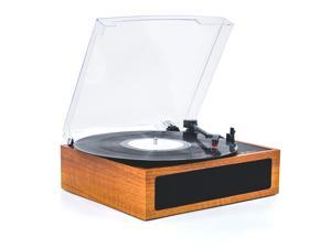 LP&No.1 3 Speed Belt-Drive Bluetooth Turntable with Stereo Speakers, Vintage Vinyl Record Player, Light Brown