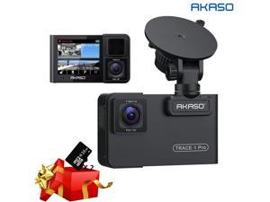 AKASO Trace 1 Pro Dual Lens Car Dash Camera, 2K Dash Cam WiFi with Phone App External GPS Front and Inside Lens with Sony STARVIS Dual Record 1080p30 340° Coverage