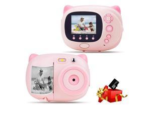 Kids Camera Instant Print Digital Camera with Zero Ink Printing for Girls Boys WiFi Camera for Kids, 2.4inch LCD Display Auto-Focusing Auto-Flashlight Creative Toys pink / blue