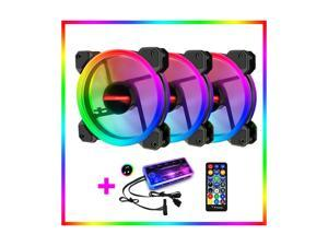 3pcs Kit RGB LED PWM Case Fans 120mm with Remote Controller Fan Hub and Extension, Quiet Edition High Airflow Adjustable Colorful PC Case CPU Computer Cooling with Coolers, Radiators System (3pcs)