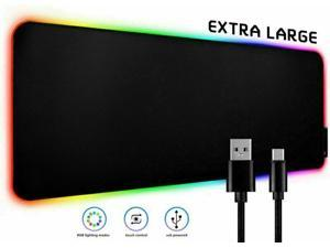 LED Gaming RGB Mouse Pad Large Smooth Surface Anti-Slip USB Charging Mouse Mat