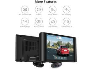 AKASO 360 Degree Dash Camera for Cars - 2K Full View Dual Dash Cam Front and Rear Car DVR Dashboard Recorder with 5 Inch Touch Screen G-Sensor Parking Monitor Loop