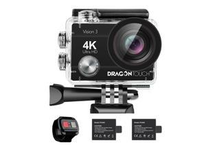 Dragon Touch Vision 3 4K Action Camera 16MP Underwater Waterproof Camera 170° Wide Angle WiFi Sports Cam with Remote 2 Batteries and Mounting Accessories Kit