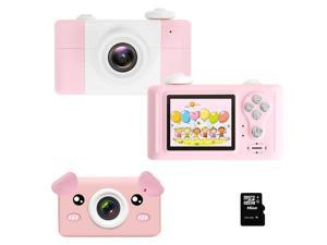 Kids Camera D3 PLUS Rechargeable with pink Pig Cover Digital Cameras Toys for 4-10 Year Olds Girls Boys Shockproof 26MP Mini Cam with 16G SD Card Best Idea Birthday Party Gifts