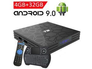 Android TV Box with 4GB RAM 32GB ROM,EASYTONE T9 Android TV Box 9.0 Quad- Core Support BT4.0/ H.265/ 3D /5G WiFi/USB 3.0/ 64bit/ UHD 4K Media Player with Backlit Wireless keyboard