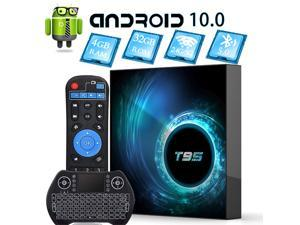 Android 10 TV Box, EASYTONE T95 Smart Android TV BOX 4GB 32GB Media Player Support Dual-band 2.4G/5G WIFI/BT5.0/6K/3D/HDR with Wireless Backlit Mini Keyboard