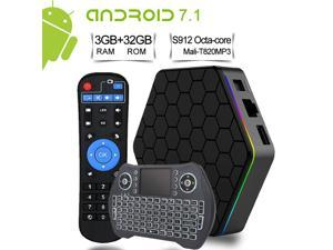 EASYTONE Android TV Box, T95Z Plus 3GB RAM 32GB ROM Media Player, Android 7.1 TV Box Amlogic Octa-Core, 2.4/5.8G Dual WIFI Smart Boxes Bluetooth 4.0  with Backlit Wireless Mini Keyboard