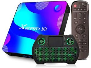 Android 11.0 TV BOX, EASYTONE Newest X88 Android TV Box RK3318 Quad-Core CPU/4GB Ram+64GB Rom/USB 3.0/Dual-band WIFI/BT 4.0/HDMI 2.0 Android Smart Box with Wireless Backlight Wireless Mini Keyboard
