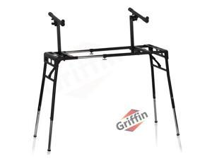 GRIFFIN 2-Tier DJ Coffin Workstation Stand   Double Table Top Keyboard & Laptop Holder   Duel Level Digital Piano Rack Mount Platform for Studio Mixer Controllers, Turntable, Speakers, Stage Equipment