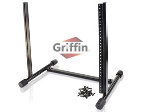 Rack Mount Stand with 10 Spaces by GRIFFIN   Music Studio Recording Equipment Sound Mixer Standing Case & 20 Screws   RackMount Pro Audio Network Amp Server Gear Rails For DJ Booth Cart, Stage & Bands